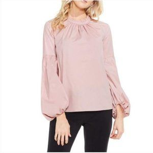 Vince Camuto Pink Pleated Balloon Sleeve Blouse